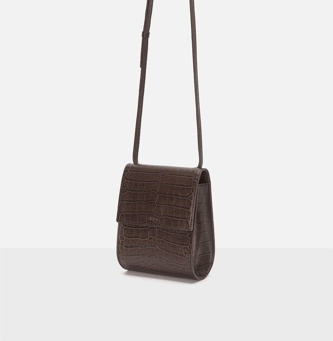 Pochette crossbody bag Umber Crocodile pattern