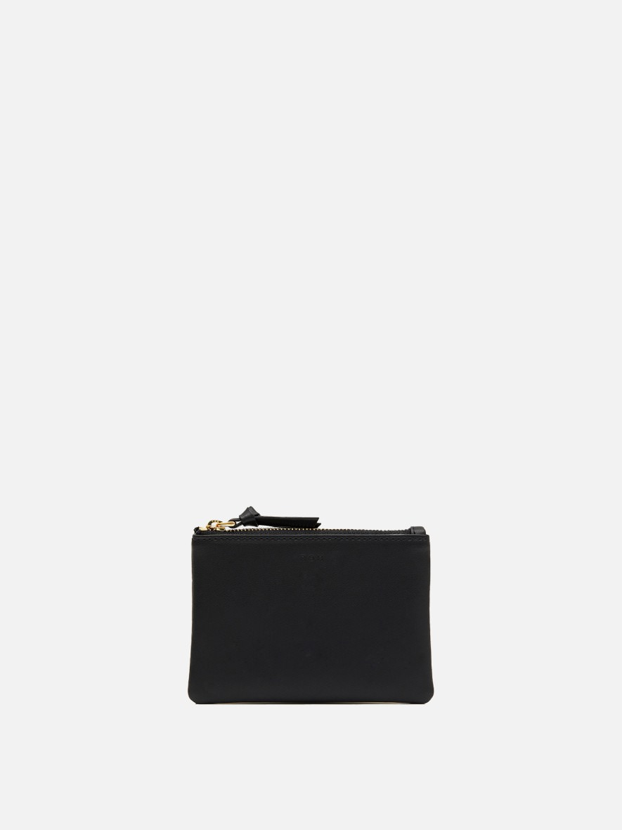 Square small zip wallet Black